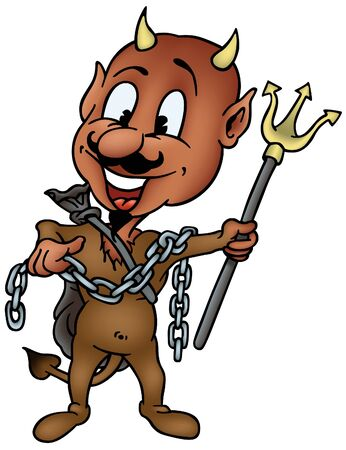 horny: Brown Devil with Trident - colored cartoon illustration as vector