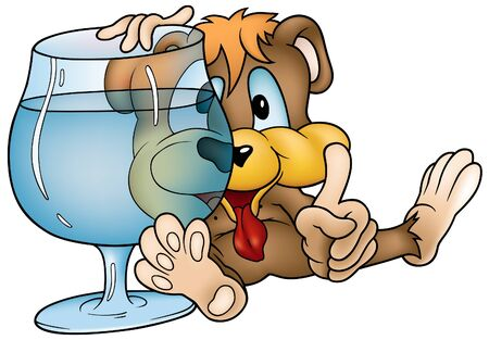 Drinking Bear - colored cartoon illustration as vector Stock Vector - 3990520