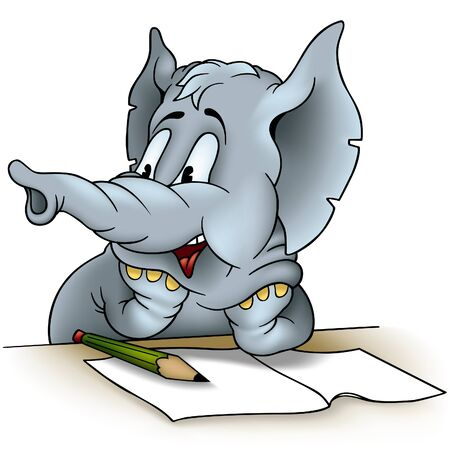 writing paper: Elephant writing - detailed colored illustration as vector