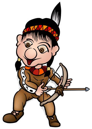 longbow: Indian 02 - colored cartoon illustration as vector