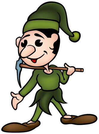 Little Elf 1 - colored cartoon illustration as vector