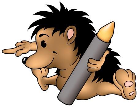 vector cartoons: Hedgehog and Wax Crayon - cartoon illustration as vector Illustration