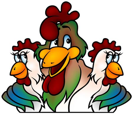 hand drawn wings: Rooster champion - cartoon illustration as vector