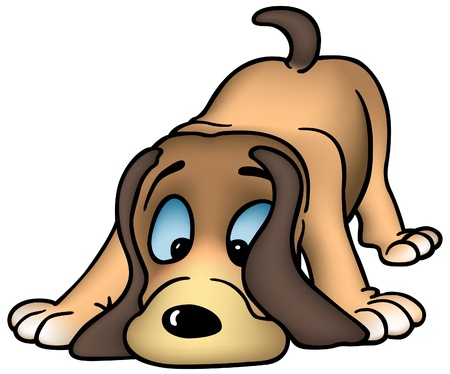 Sniffing Dog - colored cartoon illustration as vector Illustration