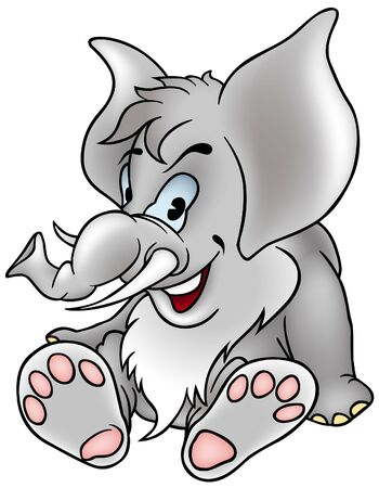 vector cartoons: Gray Elephant - detailed colored illustration as vector