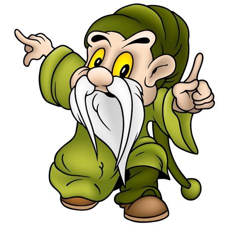 cartoon elfe: Green Dwarf 10 - farbige Cartoon Illustration als Vektor Illustration
