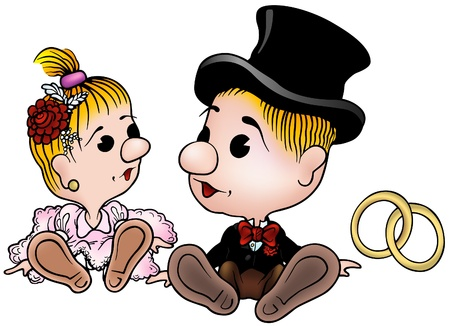 Bride and Groom - colored cartoon illustration as vector Vector