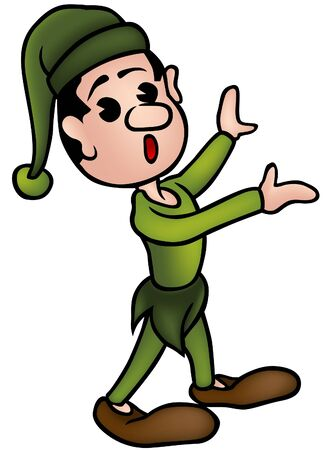 gnome: Little Elf 2 - colored cartoon illustration as vector