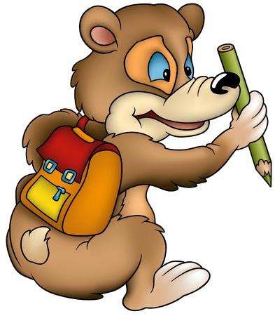 Bear Schoolboy - colored cartoon illustration as vector Vector