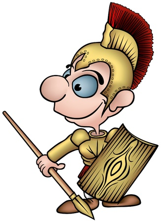 Roman Soldier - colored cartoon illustration as vector