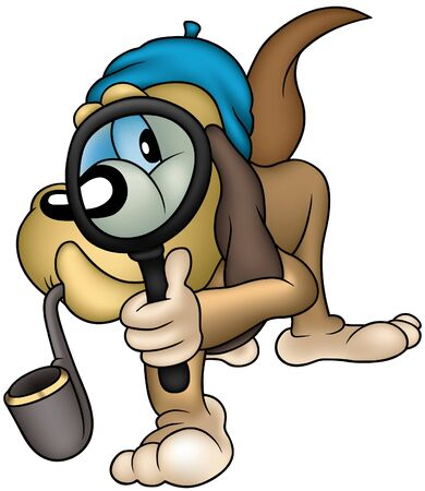 investigating: Dog Detective - colored cartoon illustration as vector Illustration