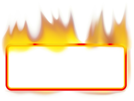 Fire Banner 01 - burning rectangle banner as vector Vector