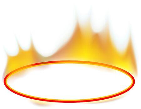 Fire Banner 02 - burning ellipse banner as vector Vector