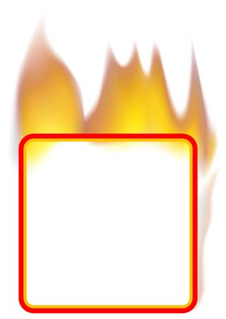 Fire Banner 03 - burning square banner as vector Vector
