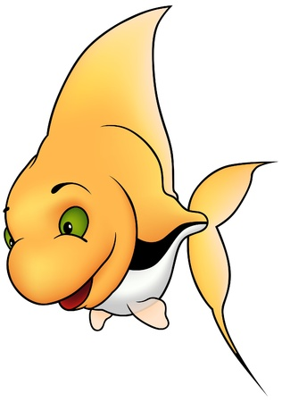 coral colored: Yellow coral fish - colored cartoon illustration as vector
