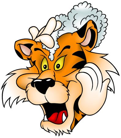 Washing Tiger - colored cartoon illustration as vector Stock Vector - 4181306