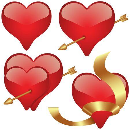 Glass Hearts 2 - hearts set illustration as vectors Vector