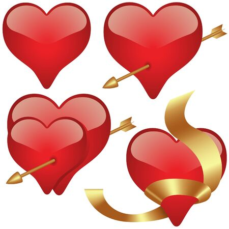 amorousness: Glass Hearts 2 - hearts set illustration as vectors