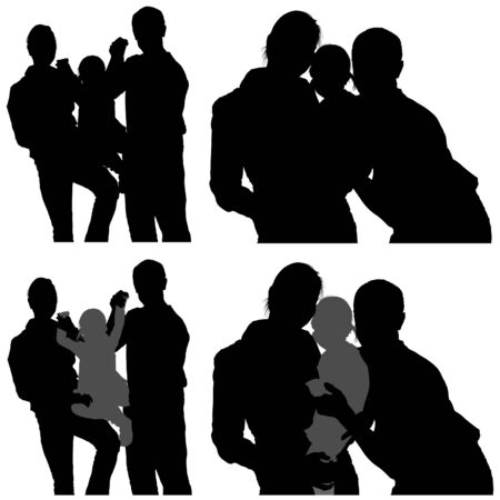 Family Silhouettes 09 - detailed illustrations as vector Vector