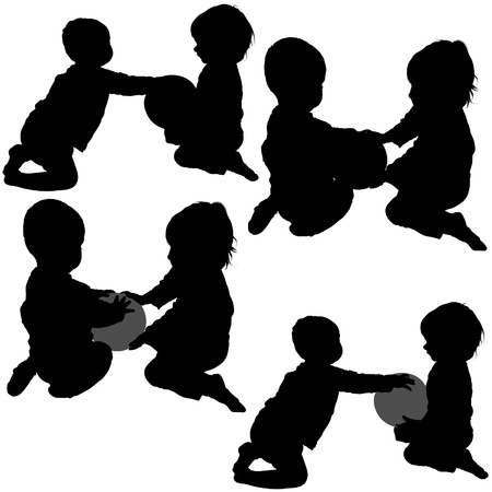 silhouettes of children: Childrens Games 03 - detailed silhouettes as illustrations, vector Illustration