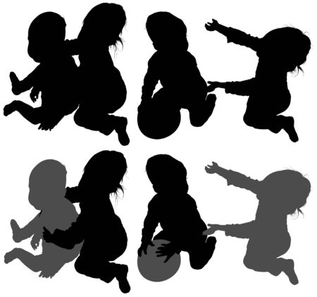 Childrens Games 04 - detailed silhouettes as illustrations, vector Vector