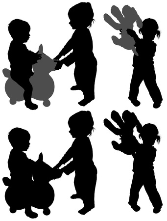 Childrens Games 05 - detailed silhouettes as illustrations, vector