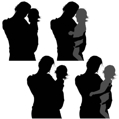 Mother and Baby 01 - detailed silhouettes as illustration, vector Vector