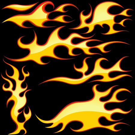Glass Flames Symbols - colored illustration as vector Stock Vector - 4302481