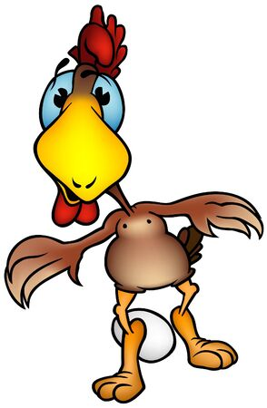 Hen and Egg- colored cartoon illustration as vector Vector