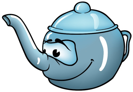 Teapot - colored cartoon illustration as vector