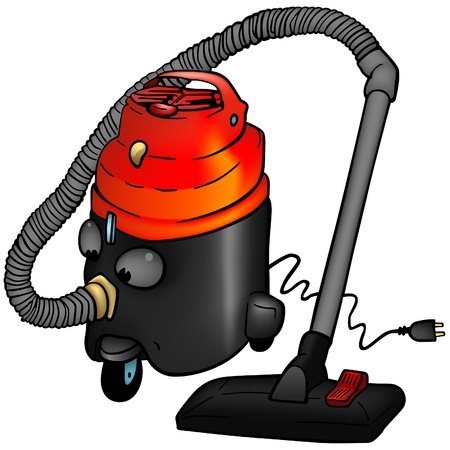 cut outs: Vacuum cleaner - colored cartoon illustration as vector