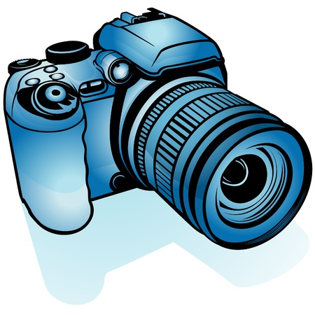 photography icons: Blue Digital Camera - colored illustration as vector Illustration