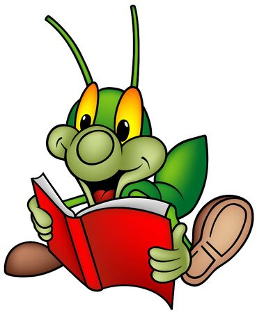cartoon bug: Happy Green Bug 01 - bug reading book
