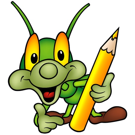 vector cartoons: Happy Green Bug 05 - bug as painter Illustration