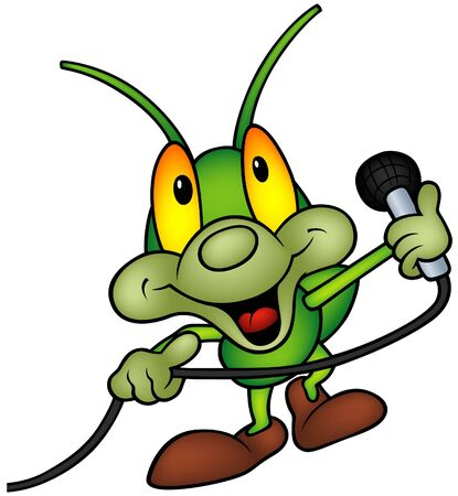 Happy Green Bug 06 - bug with microphone Vector