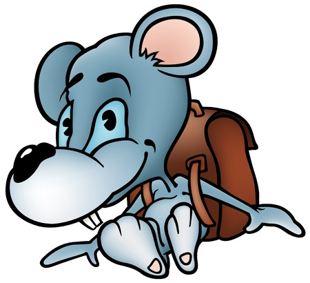 Mouse Schoolboy - colored cartoon illustration as vector