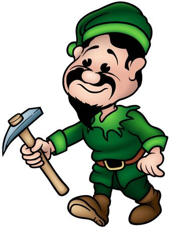 enano: Enano Verde - Elf Miner, la ilustraci�n de dibujos animados de color como vector
