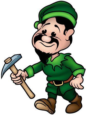 cartoon elfe: Gr�ne Zwerg - Elf Miner, farbige Cartoon Illustration als Vektor