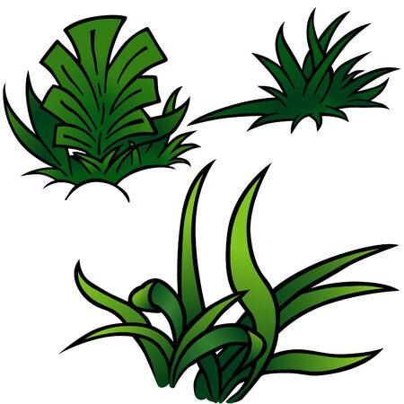 sward: Grass Set B - cartone colorato come illustrazione vettoriale