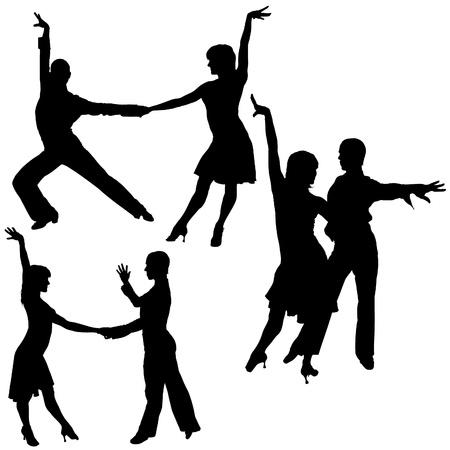 danseres silhouet: Latino Dance Silhouetten 01 - gedetailleerde illustraties als vector