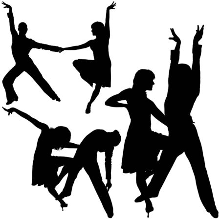 Latino Dance Silhouettes 02 - detailed illustrations as vector Vector