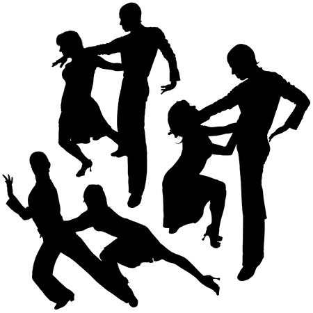 Latino Dance Silhouettes 03 - detailed illustrations as vector Vector