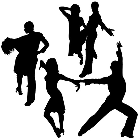 Latino Dance Silhouettes 04 - detailed illustrations as vector