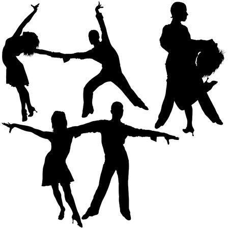 bailarines silueta: Siluetas de baile latino 05 - detalladas ilustraciones como vector Vectores