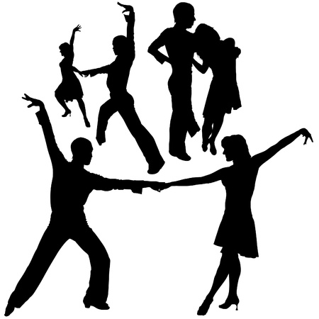 Latino Dance Silhouettes 06 - detailed illustrations as vector Stock Illustratie