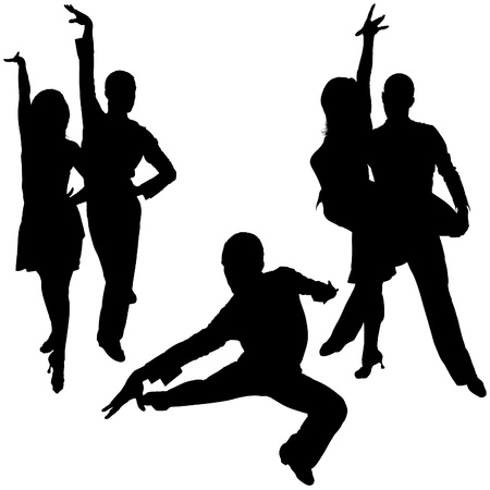 Latino Dance Silhouettes 08 - detailed illustrations as vector Vector