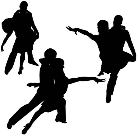 Latino Dance Silhouettes 09 - detailed illustrations as vector