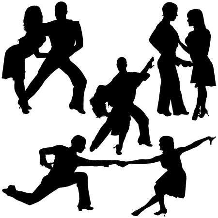 танцор: Latino Dance Silhouettes 10 - detailed illustrations as vector