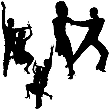 Latino Dance Silhouettes 11 - detailed illustrations as vector Stock Illustratie