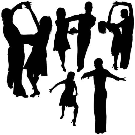 sagoma ballerina: Latino Dance Silhouettes 13 - illustrazioni dettagliate come vettore